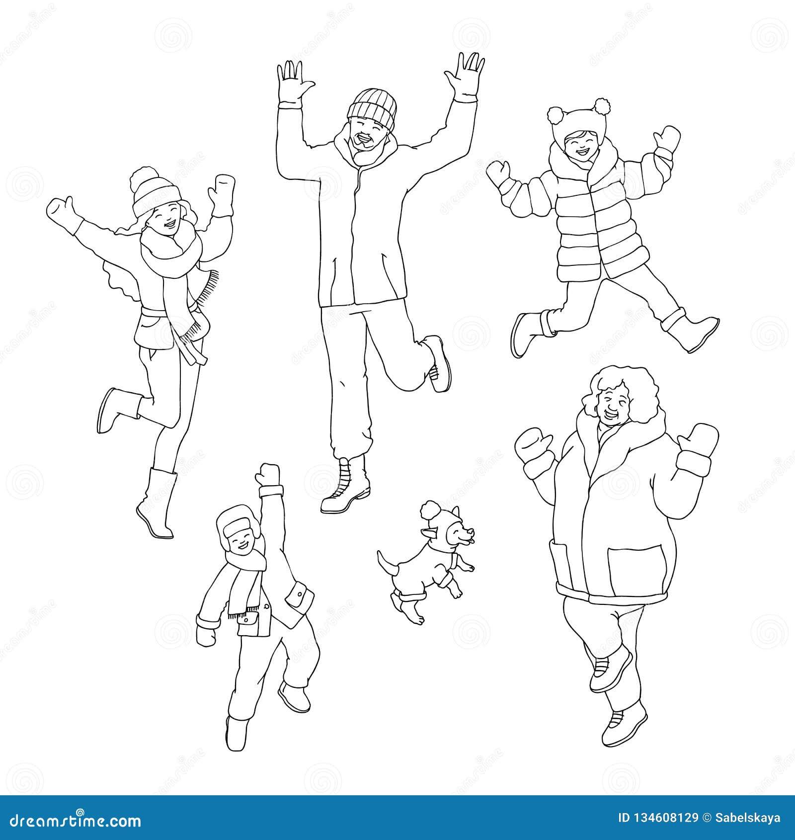 7cb81722a Vector Flat Sketch Women Men Winter Fun Set Stock Vector ...