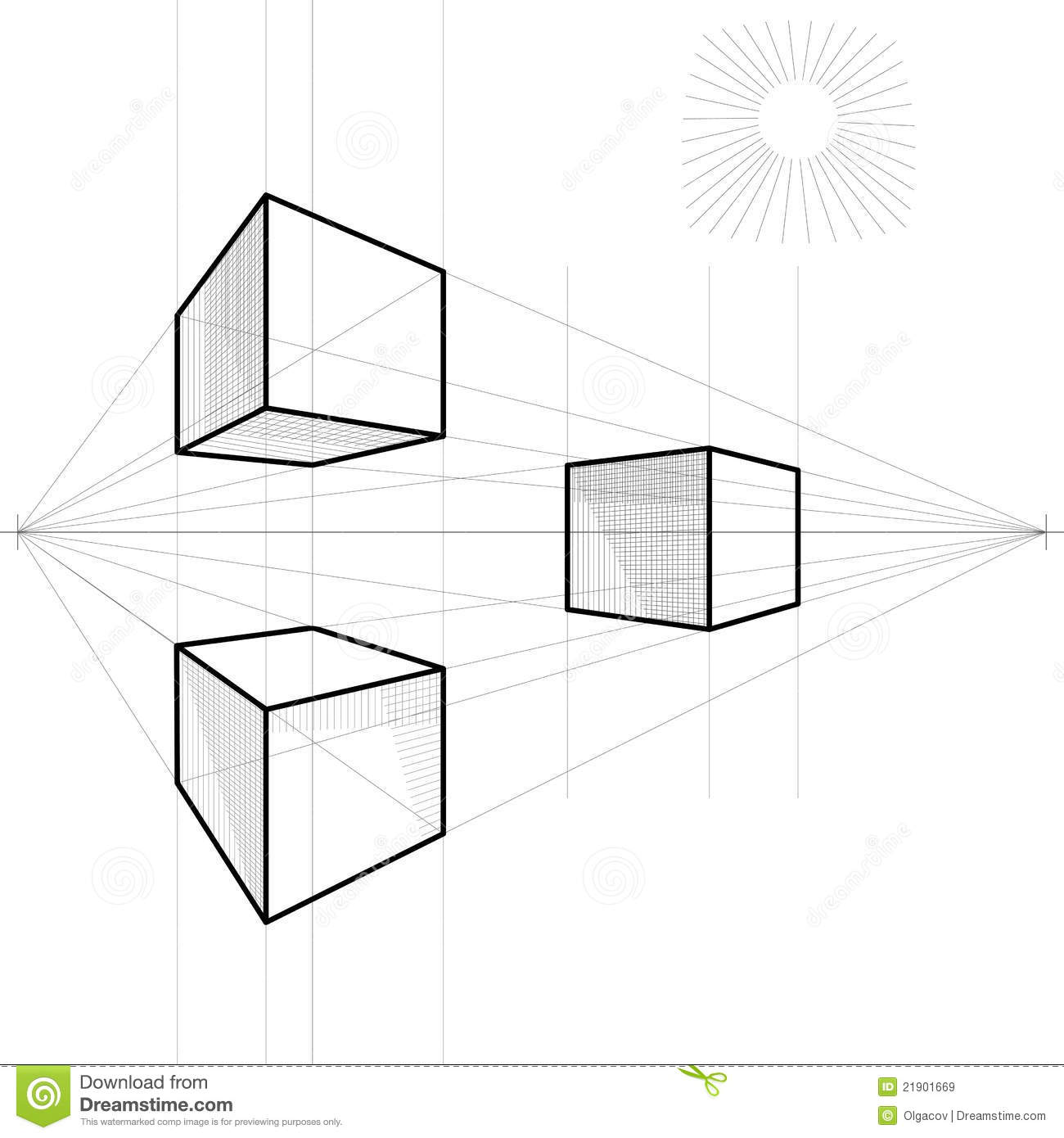 how to draw a perfect cube in two point perspective