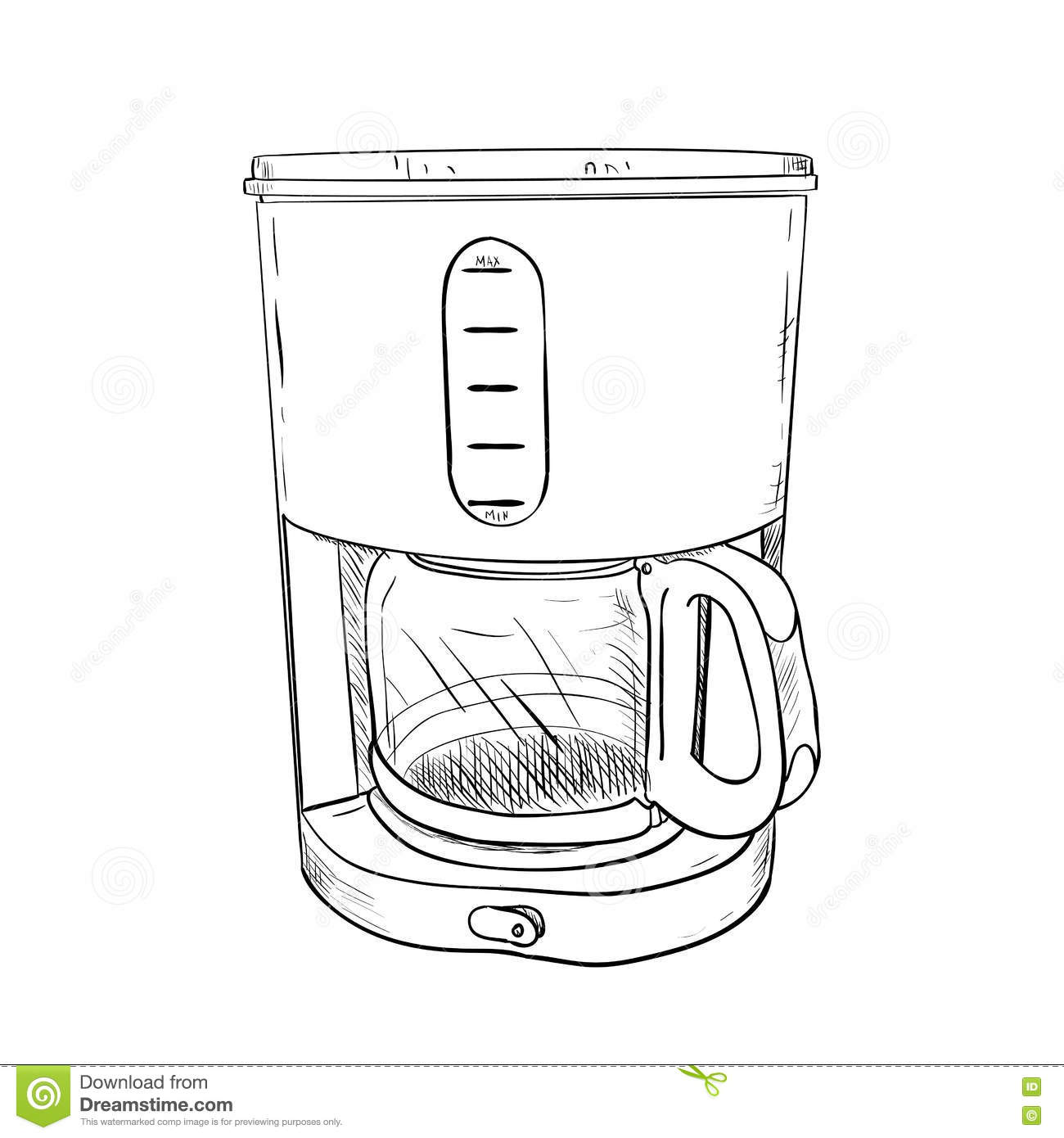 Coffee Maker Drawing ~ Vector sketch of electric coffee maker stock