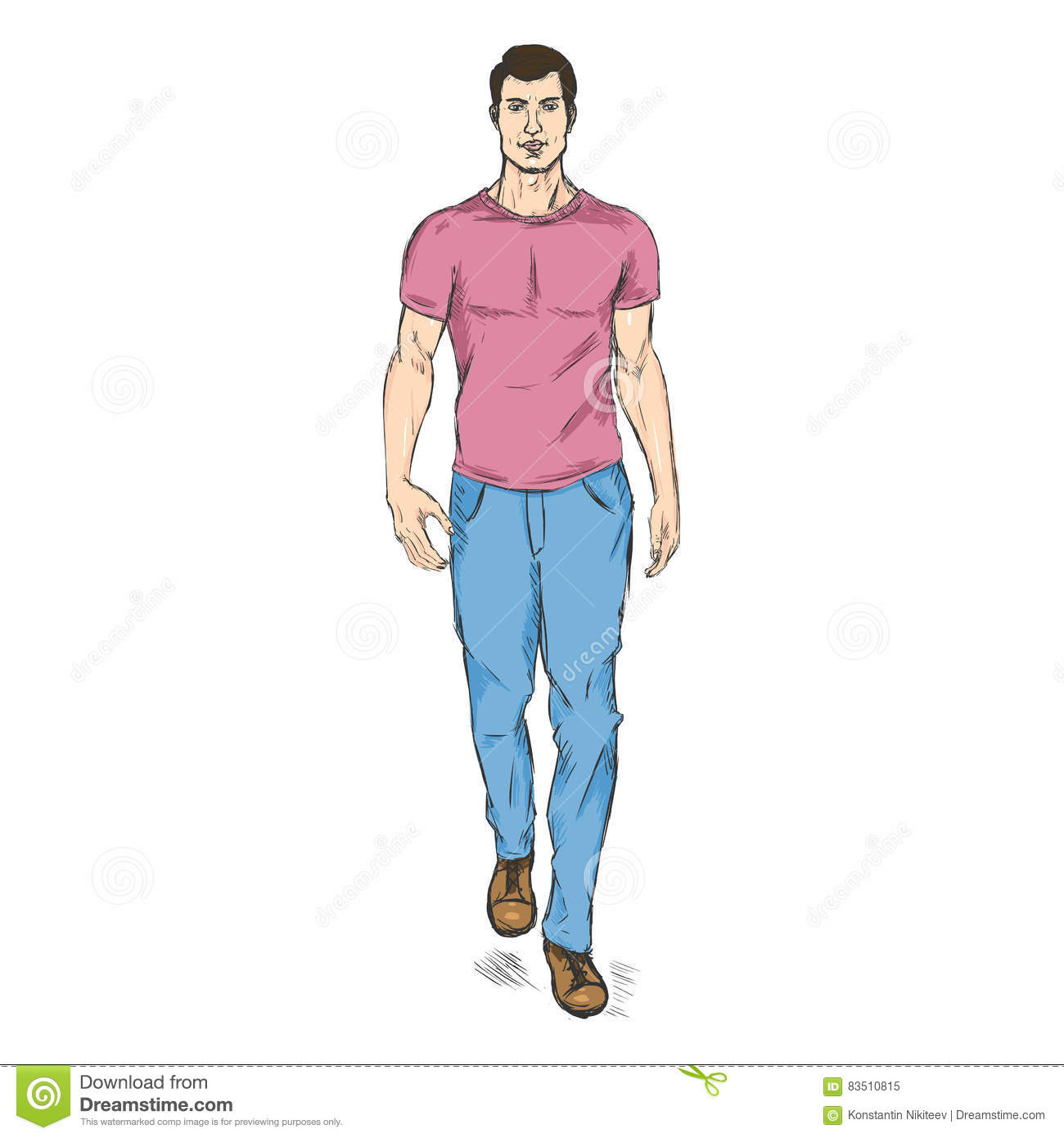Vector Sketch Fashion Male Model In Trousers And T,Shirt