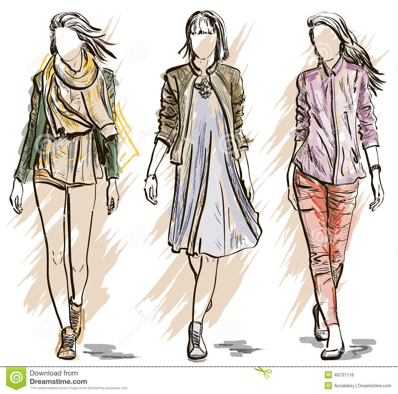 Vector Sketch Of Fashion Models Stock Vector Image 40731116