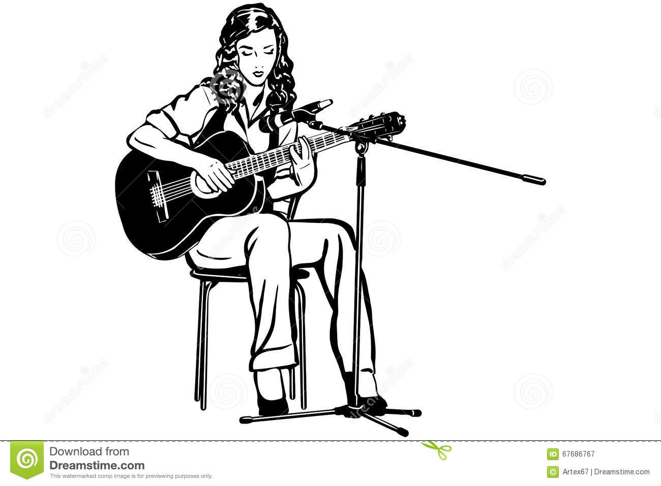 Black and white vector sketch of a girl playing the guitar