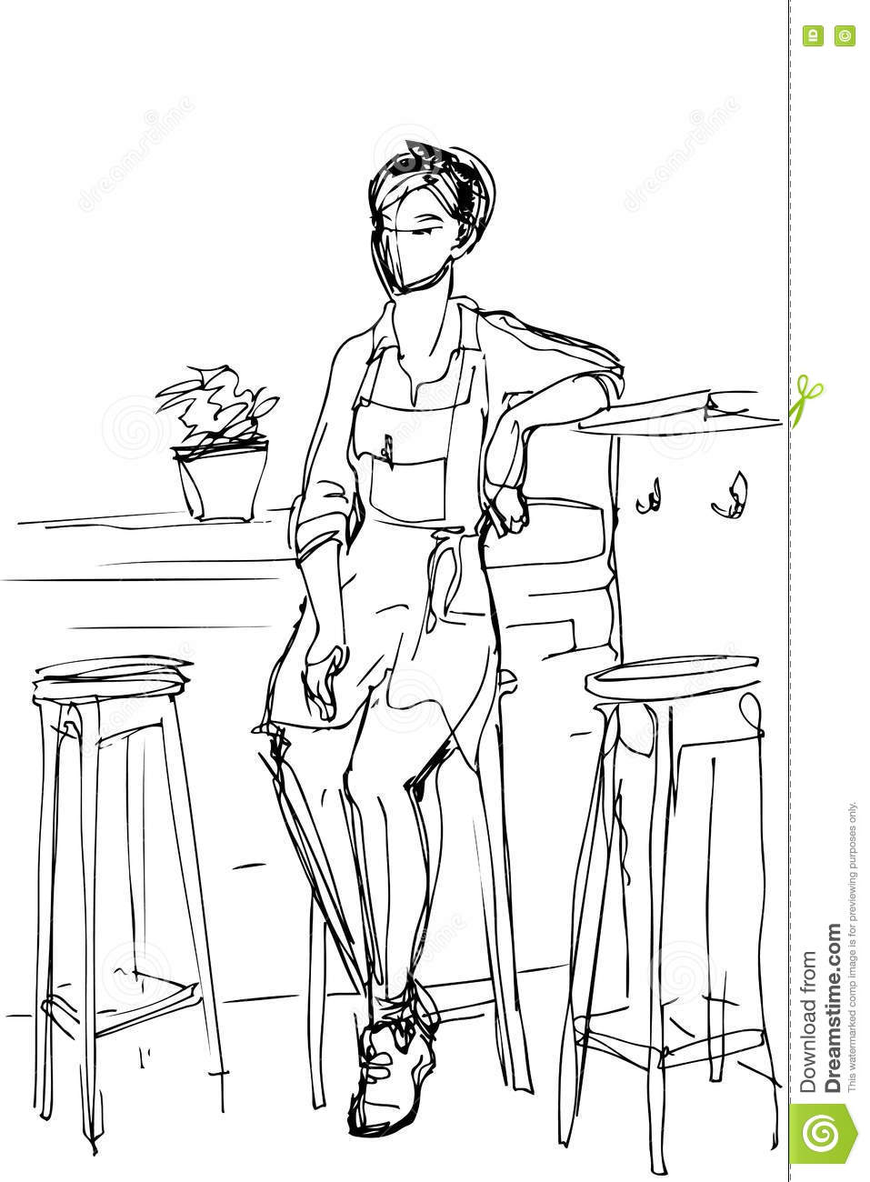Vector Sketch Of A Girl Waiter Sits On A High Stool