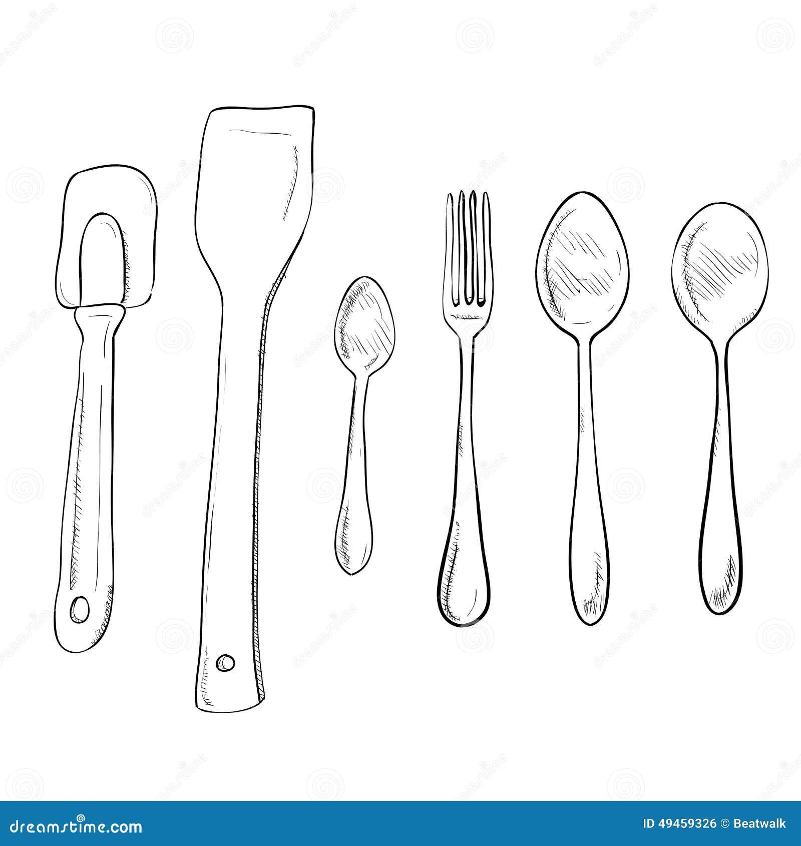 Sketch Of Kitchen Utensils : Vector Sketch Hand Drawn Of Kitchen Utensils Stock Vector - Image ...