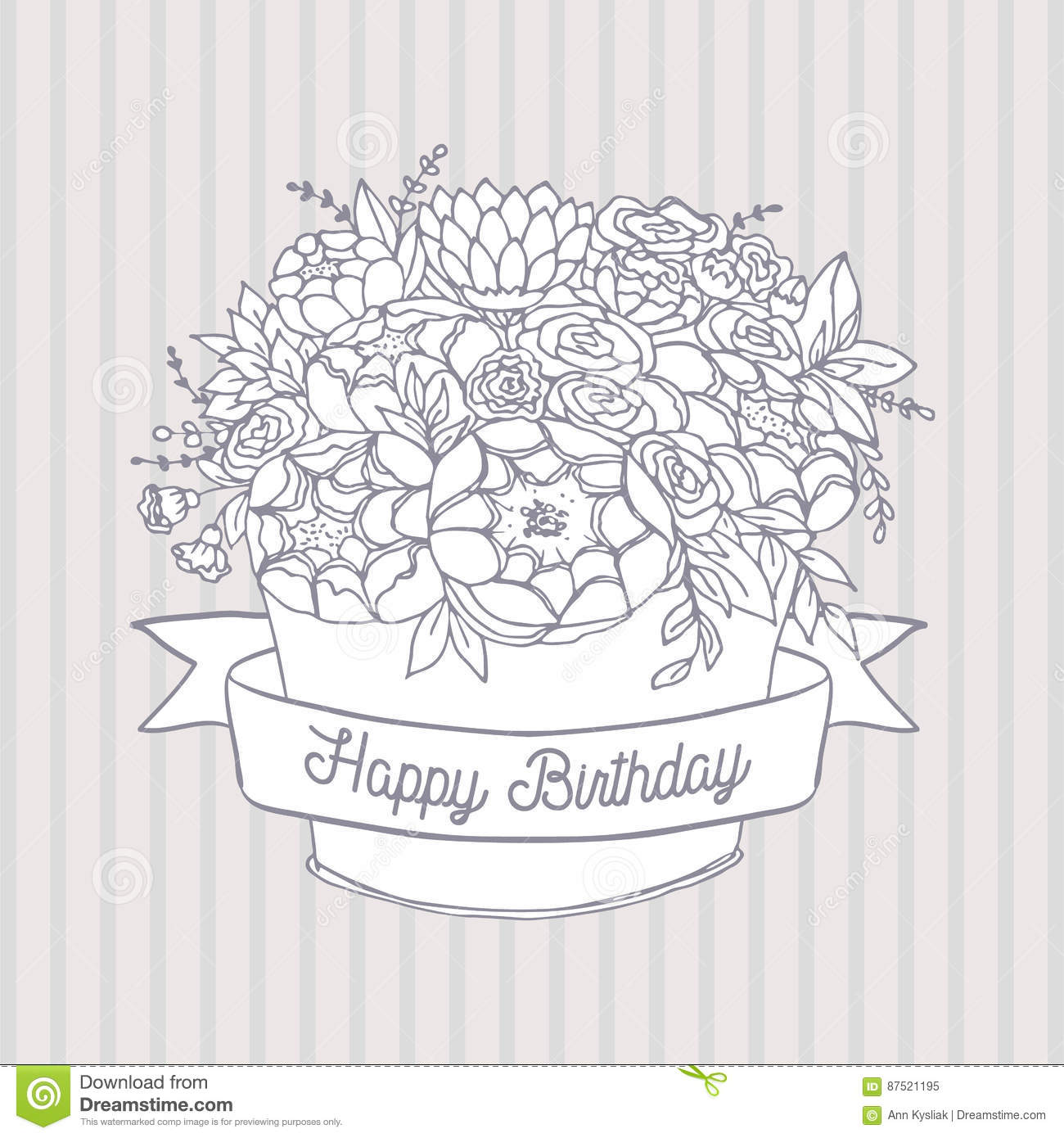 Vector Sketch Holiday Flower Bouquet With Happy Birthday Wish