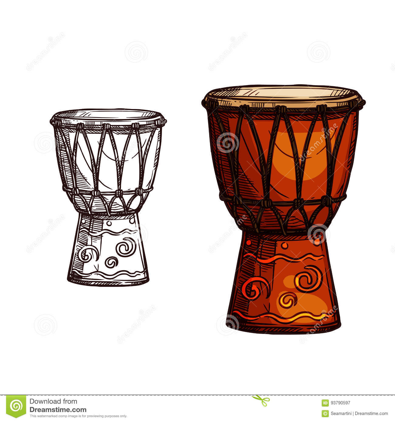 Vector Sketch Icon Of Drum Musical Instrument Stock Vector