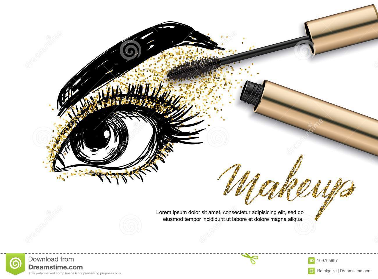 Vector Sketch Illustration Of Female Eye And Makeup Mascara Golden