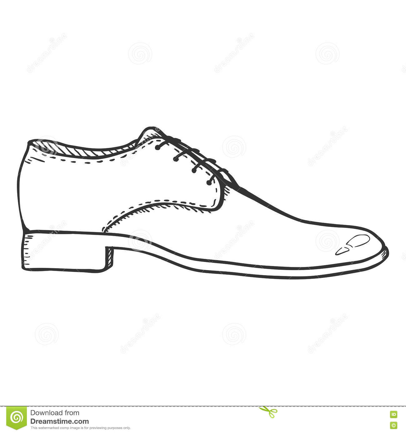 Line Drawing Shoes : Vector sketch illustration pair of classic men shoes