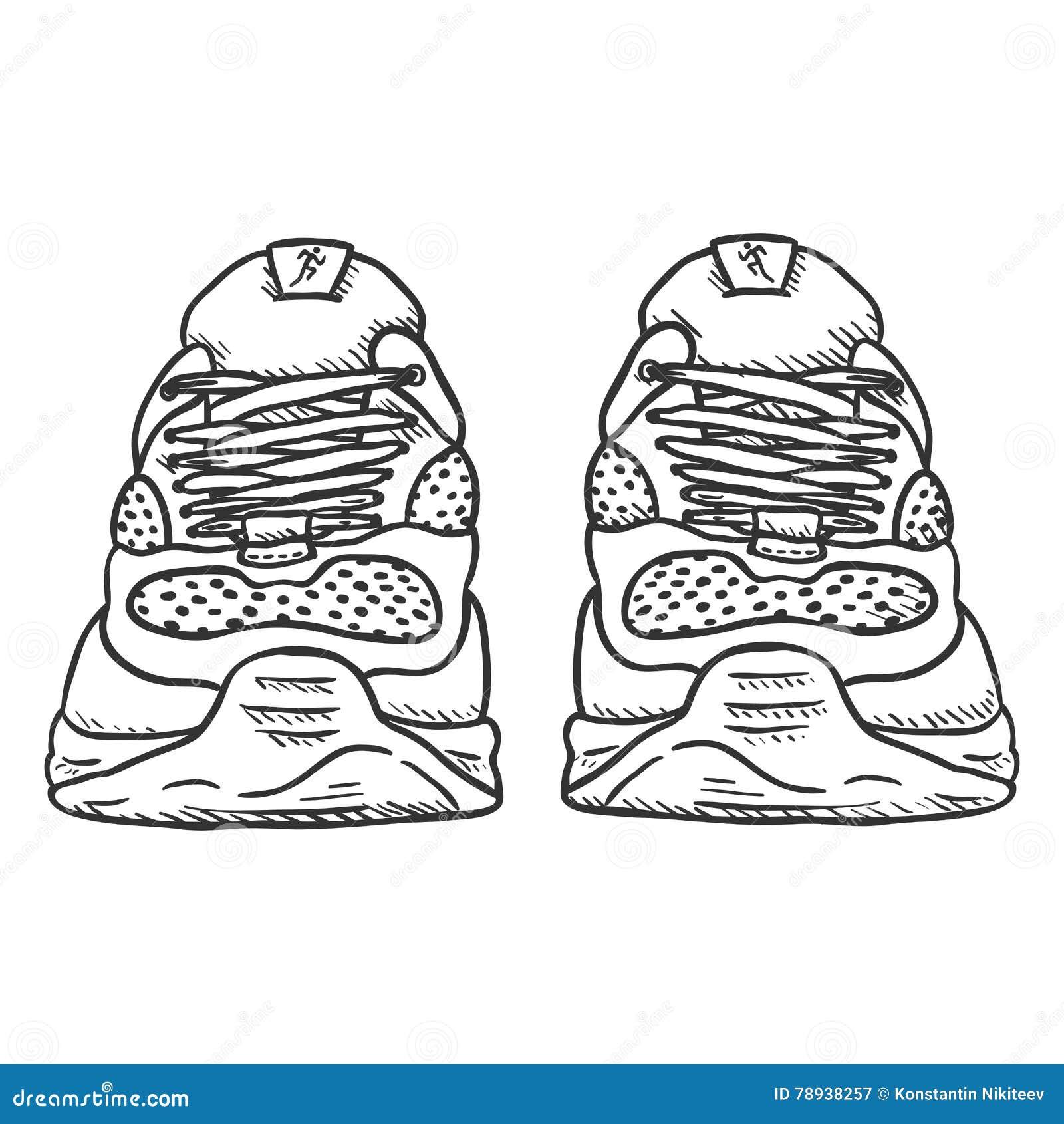 Mens Shoes Drawing Pair