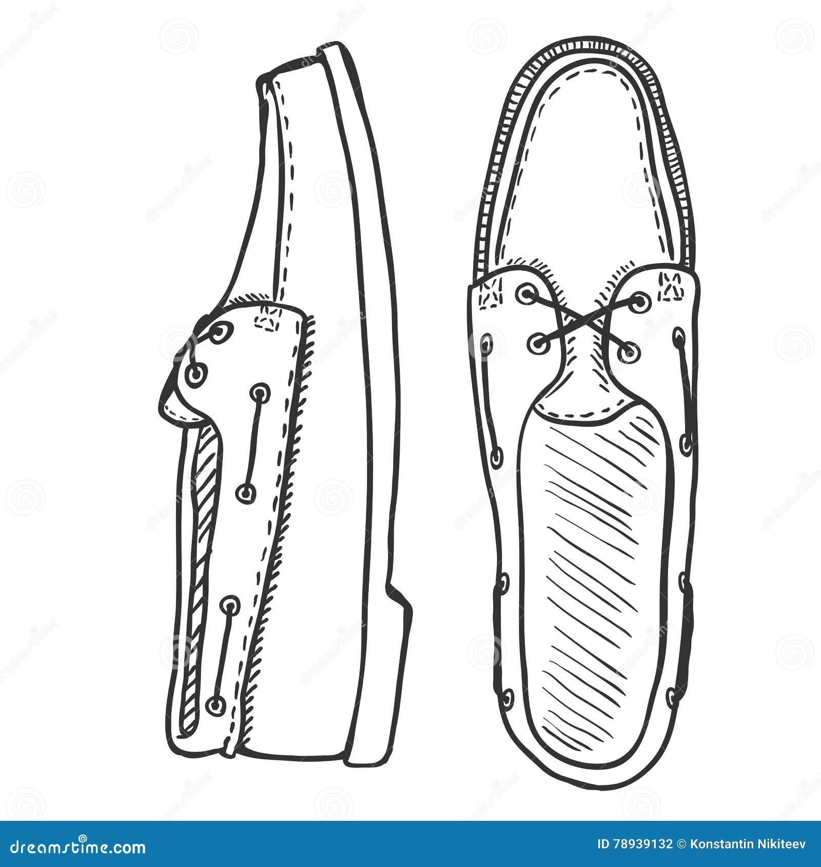 Vector Sketch Illustration , Pair Of Topsider Men Shoes. Top