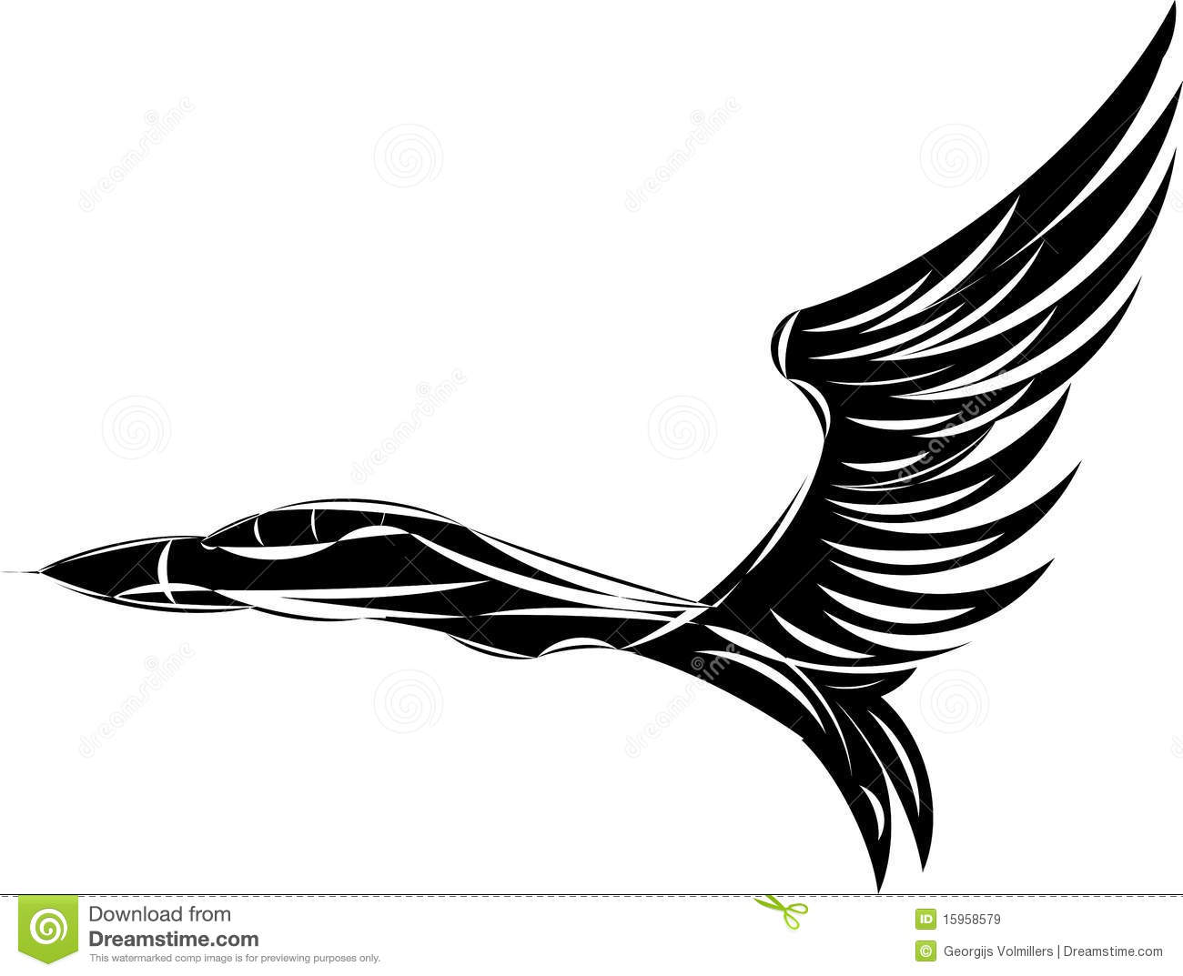 Vector Sketch Of Jet Fighter With Eagle Wings Stock Vector