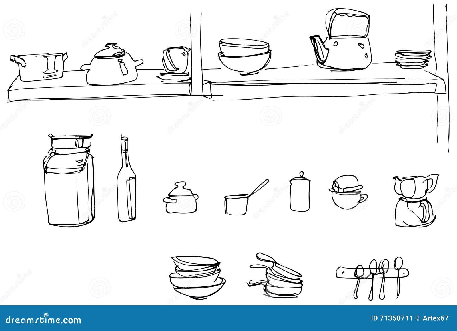 Kitchen Utensils Wallpaper vector sketch of kitchen utensils in the range of wallpaper stock