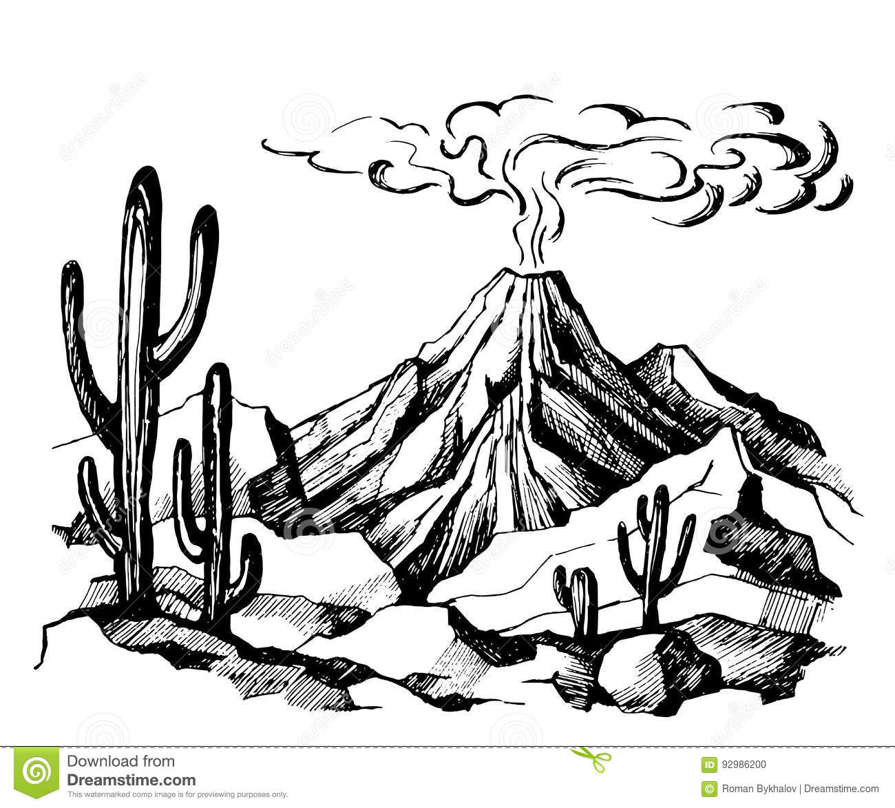 How To Draw A Volcano Landscape