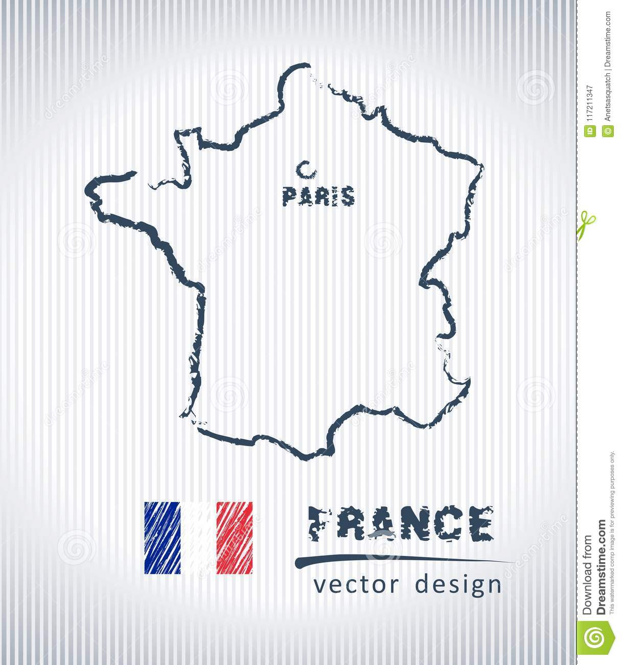 Map Of France Drawing.France Vector Chalk Drawing Map Isolated On A White Background Stock