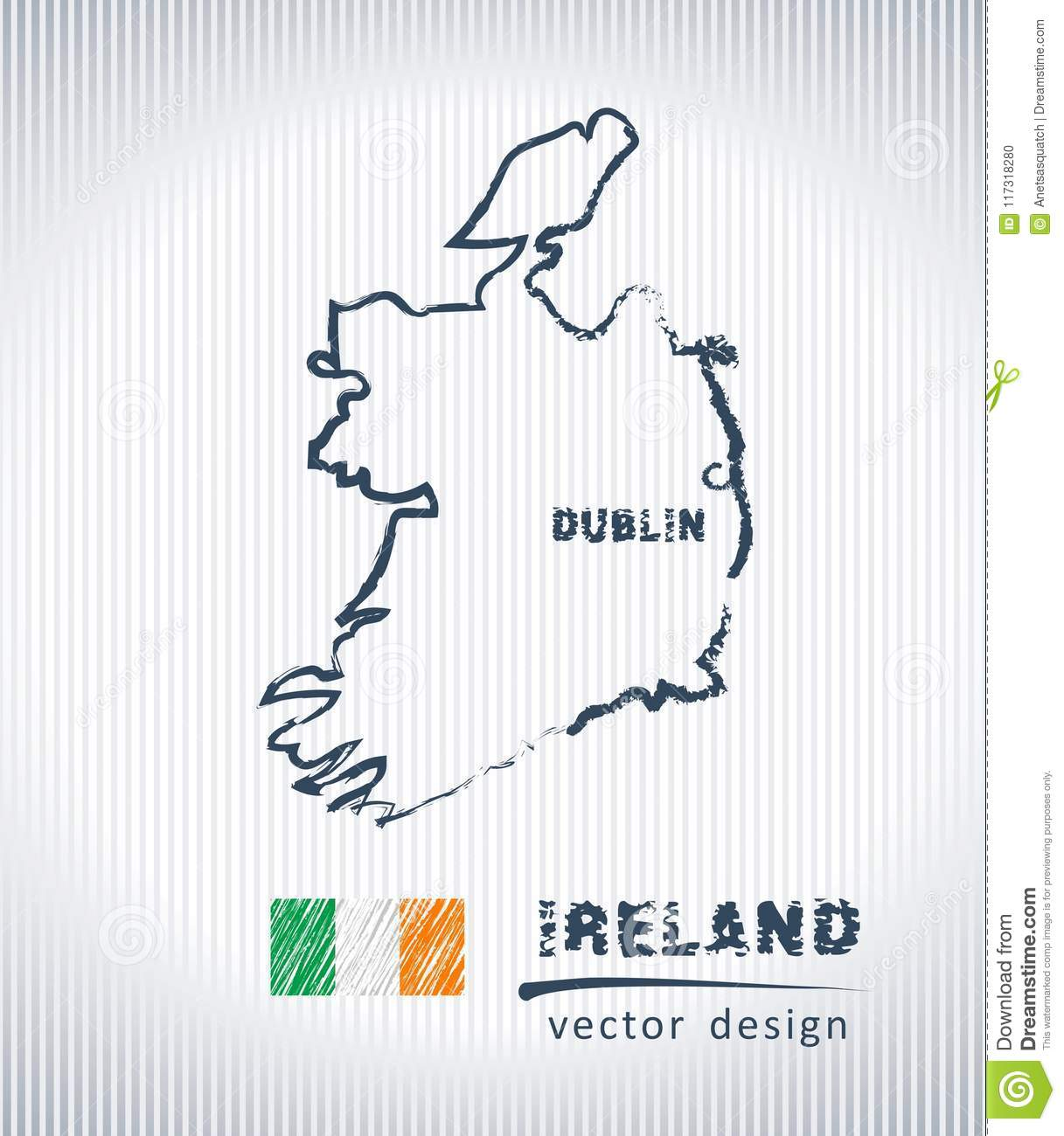 Sketch Map Of Ireland.Ireland National Vector Drawing Map On White Background Stock Vector