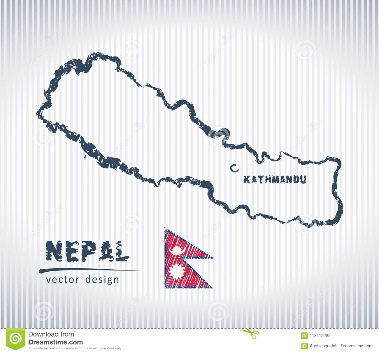 Nepal National Vector Drawing Map On White Background Stock ...