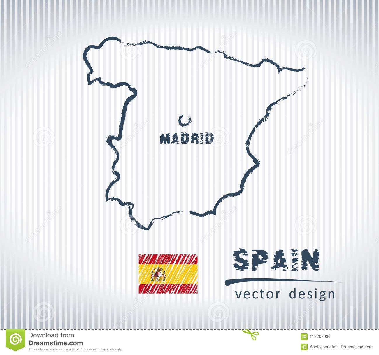Map Of Spain Drawing.Spain National Vector Drawing Map On White Background Stock Vector