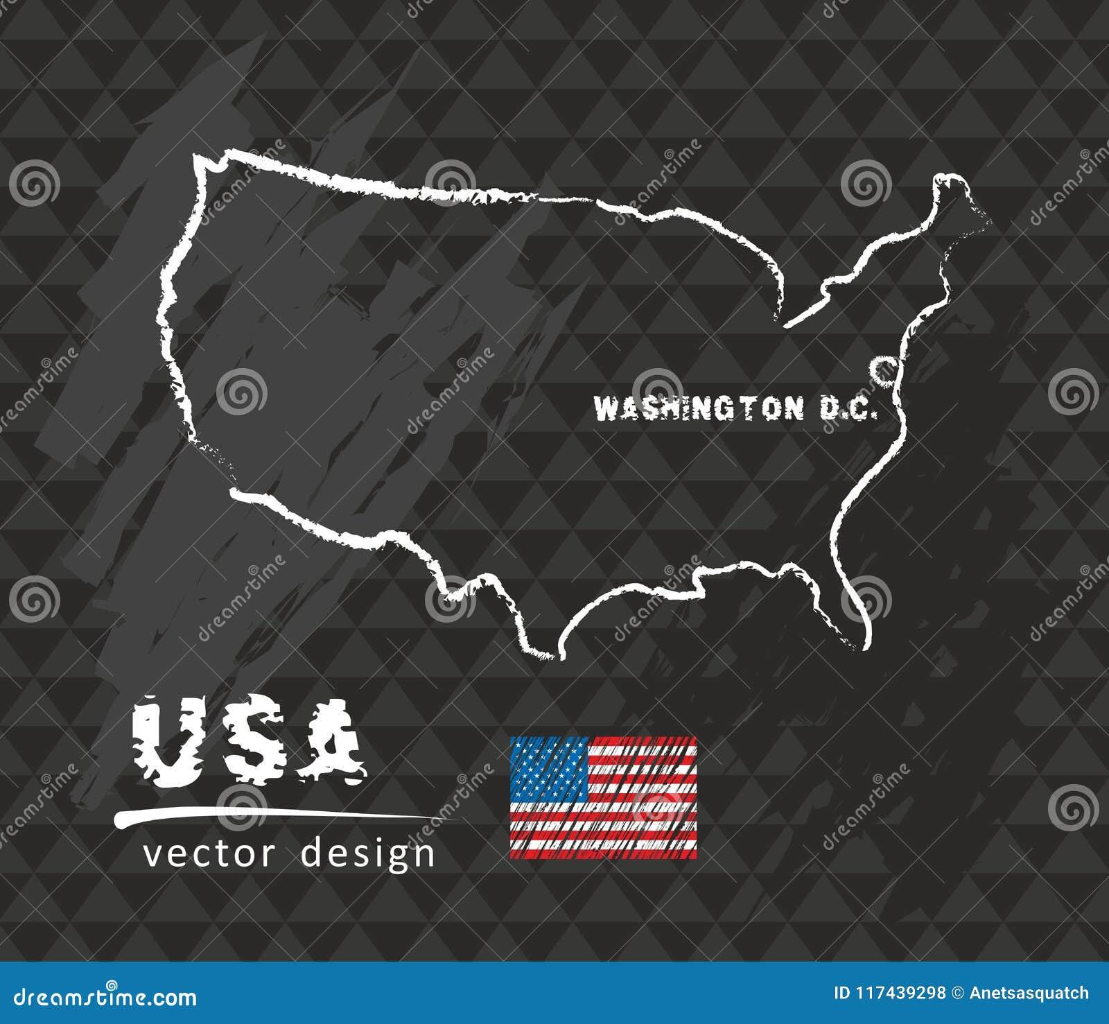 USA Map, Vector Drawing On Blackboard Stock Vector - Illustration of ...