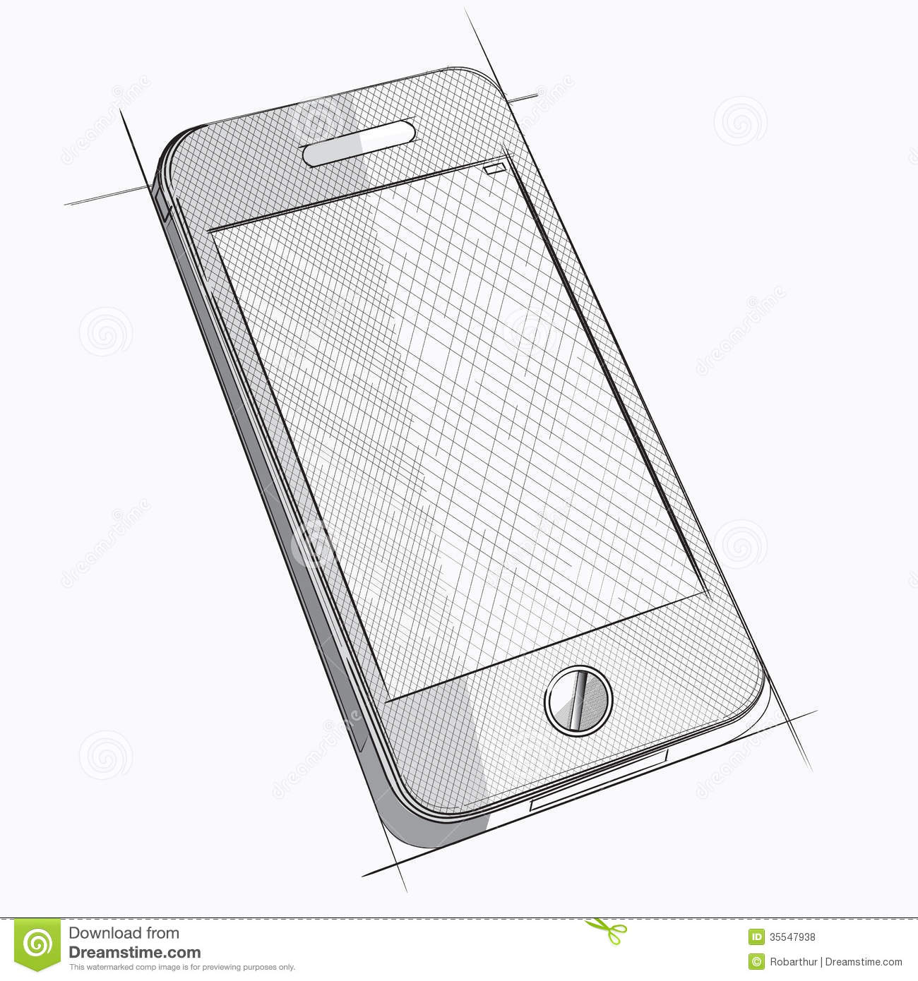Vector Sketch Of Mobile Phone Royalty Free Stock Photos - Image ...