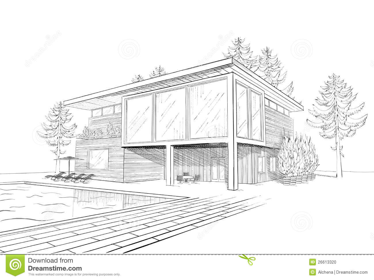 Vector sketch of modern house with swimmingpool stock Drawing modern houses