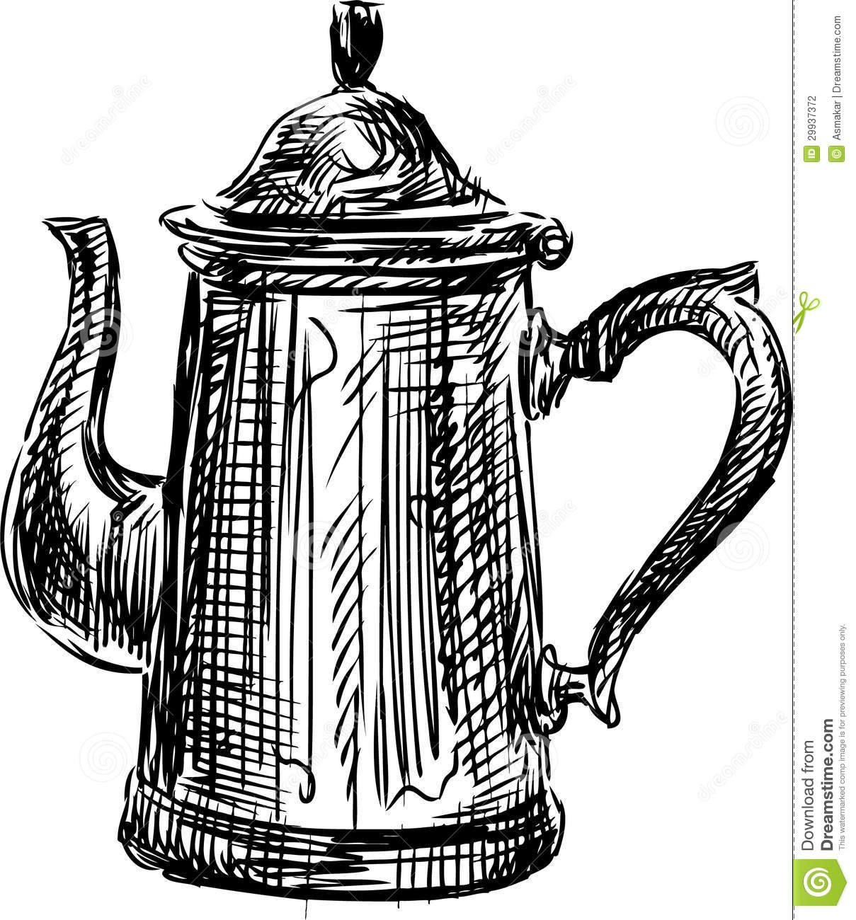 Dream Kitchen Design Drawing: Coffee Pot Stock Photo. Image Of Beverage, Sketch