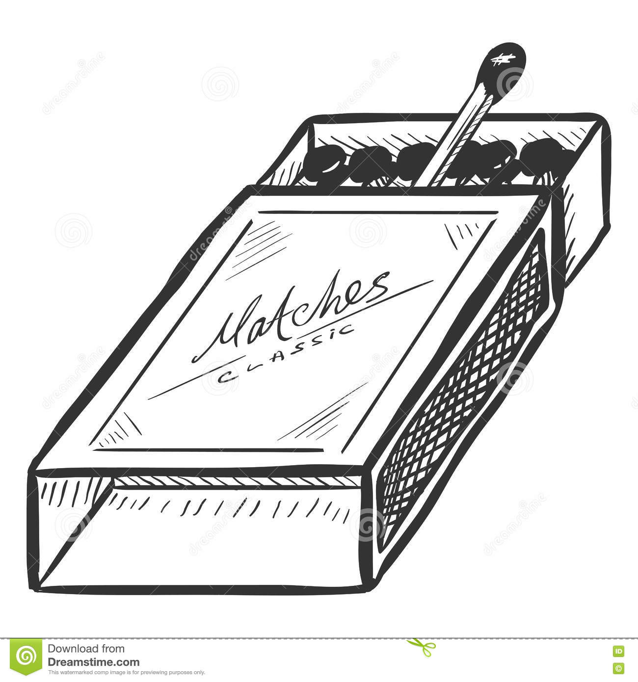 Vector Sketch Open Matchbox With Matches Stock Illustration ... for Matches Clip Art  45ifm
