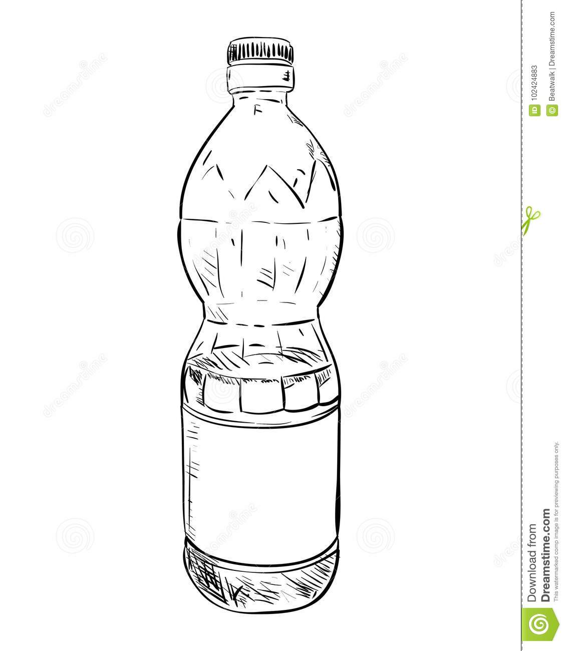 Vector sketch of plastic bottle hand draw illustration