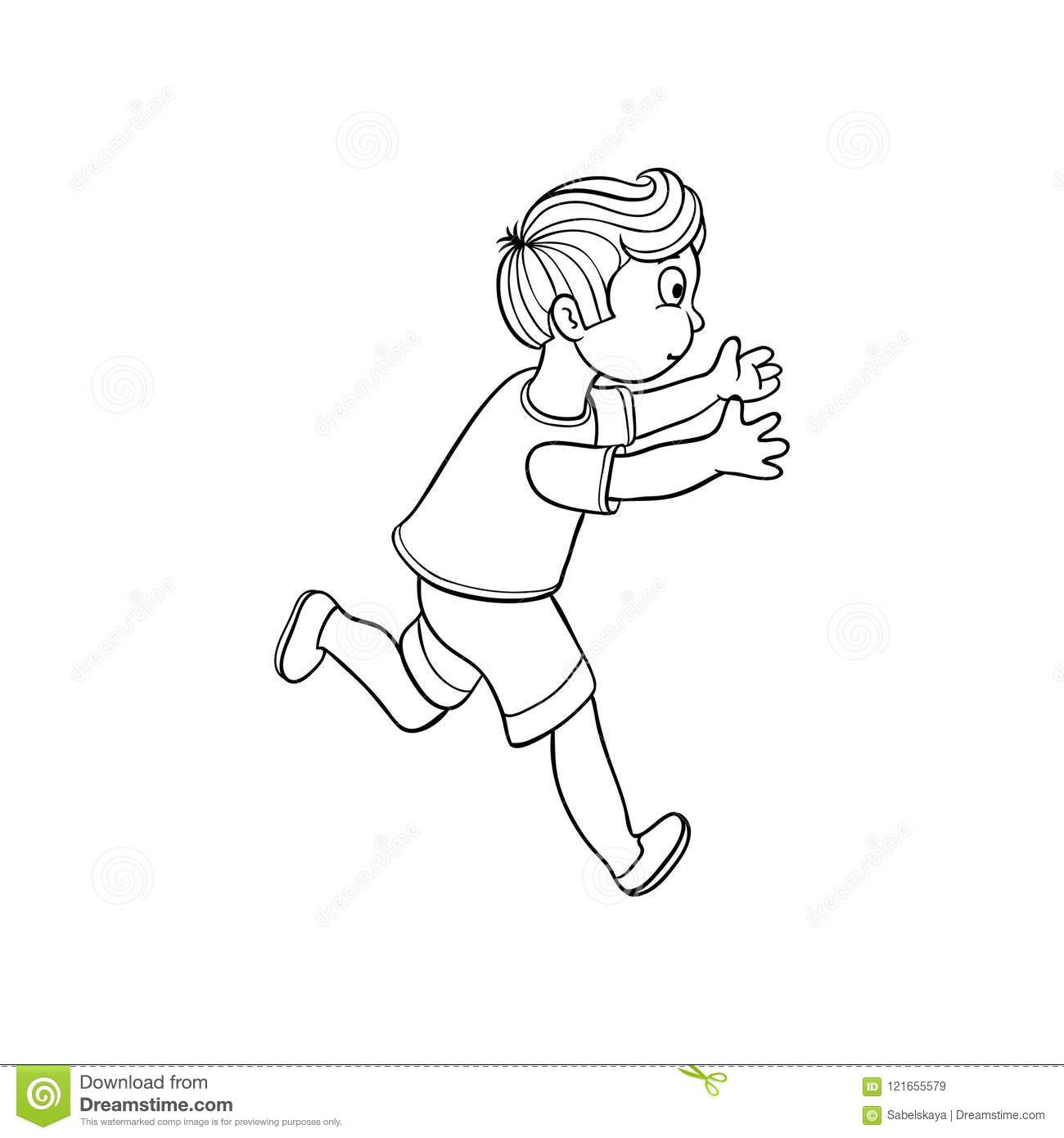 Boy in summer clothing denim shorts tshirt running looking back ranaway kid icon sketch teen male character child running with afraid face side view