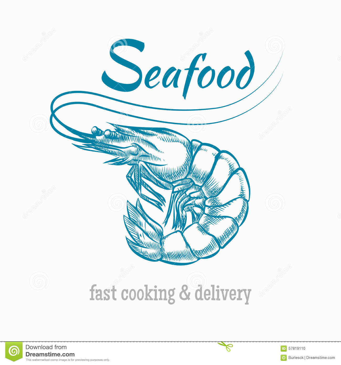 Vector sketch shrimp seafood logo. Sketch animal, restaurant and prawn ...