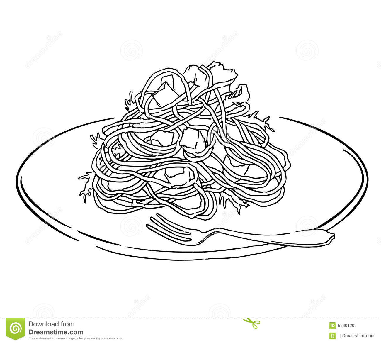 Line Drawing Food : Sketch of pasta coloring pages