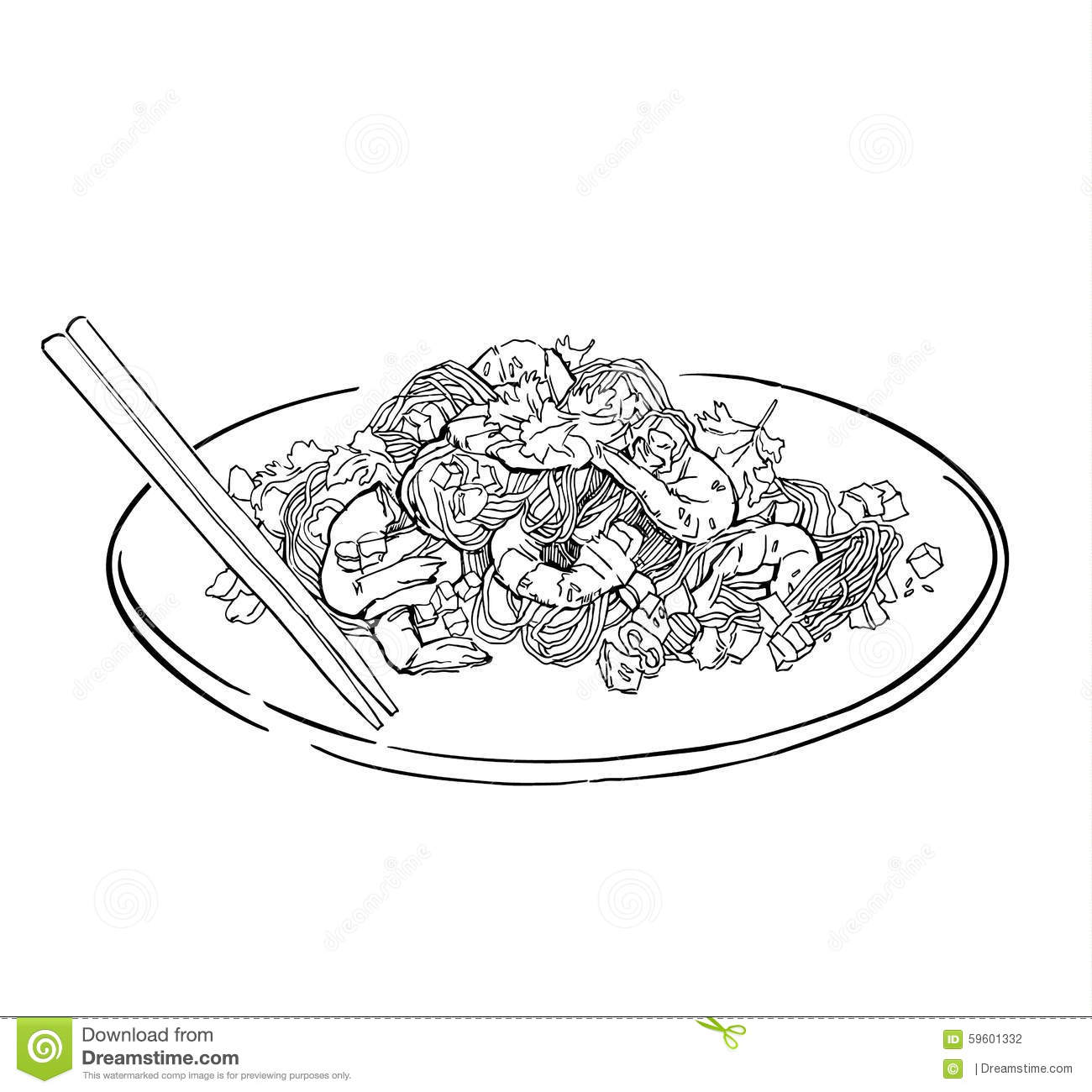 Vector Sketch Of Spaghetti Plate. Isolated On White. Stock ... for Plate With Food Drawing  58cpg