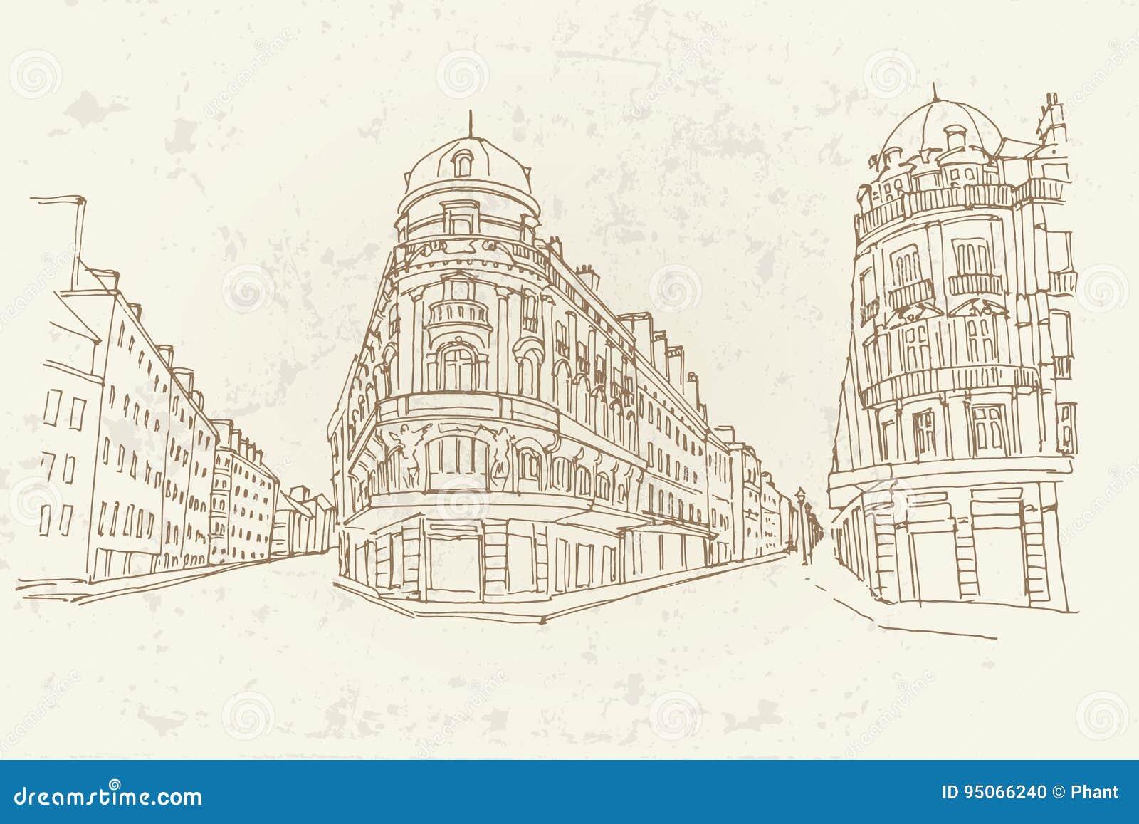 Vector sketch of street scene in France.