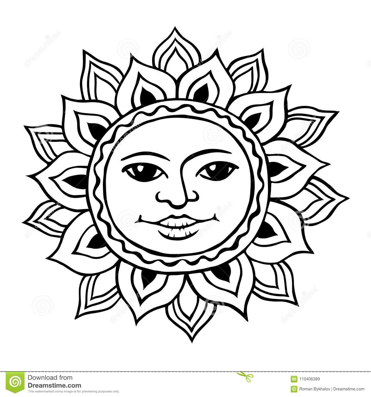 Stylized Sun With A Womans Face Stock Vector Illustration Of