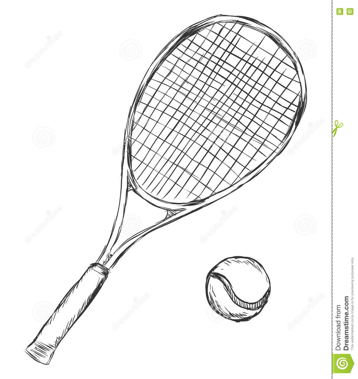 vector sketch tennis racket and ball stock illustration