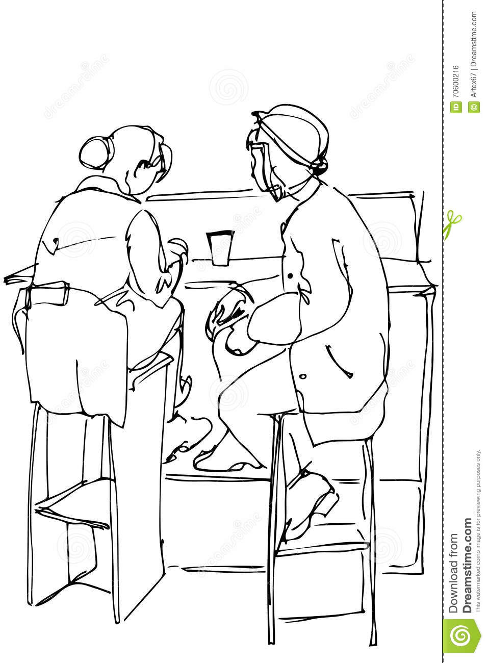 Magnificent Vector Sketch Of Two Women On High Stools Drinking Coffee Forskolin Free Trial Chair Design Images Forskolin Free Trialorg