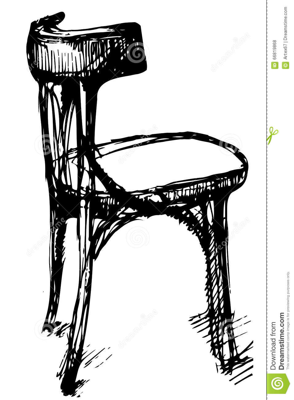 Vector Sketch Of Viennese Bent Wood Chair Stock Vector Image