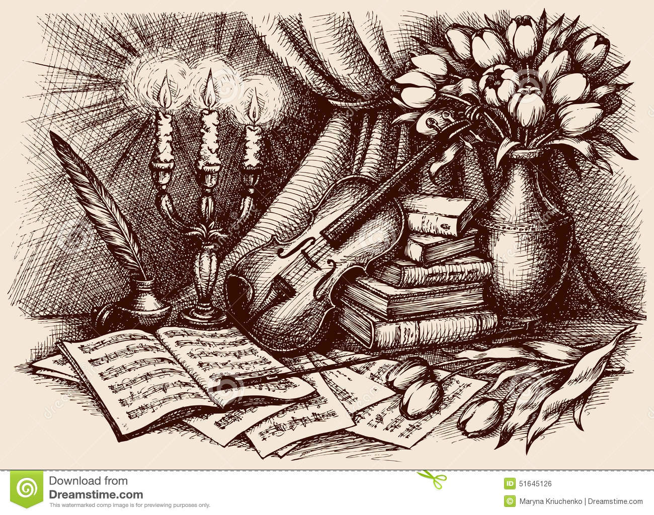 Notebook And Pen Sketch Stock Vector Art More Images Of: Vector Sketch. Violin On Old Books Stock Vector