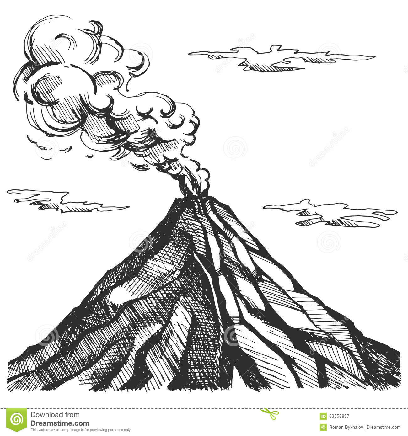 Line Drawing Volcano : Vector sketch of the volcano stock image