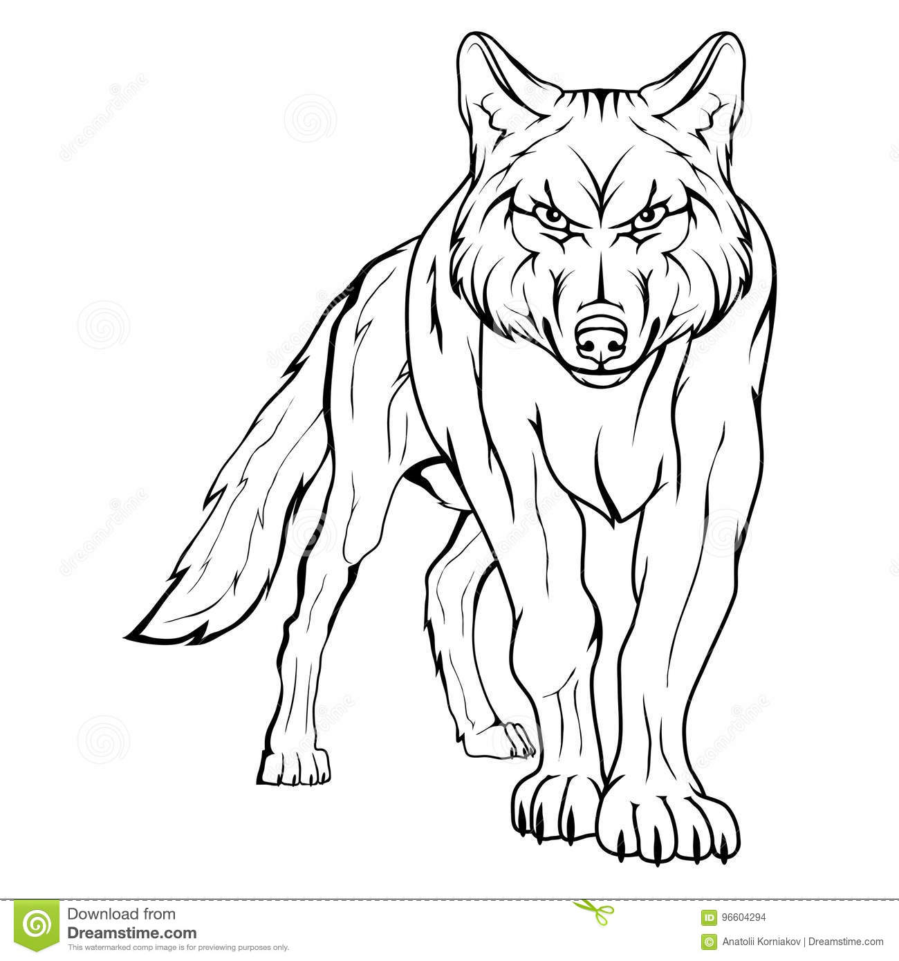 Line Art Wolf Tattoo: Vector Sketch Of A Wolf. Stock Vector. Illustration Of