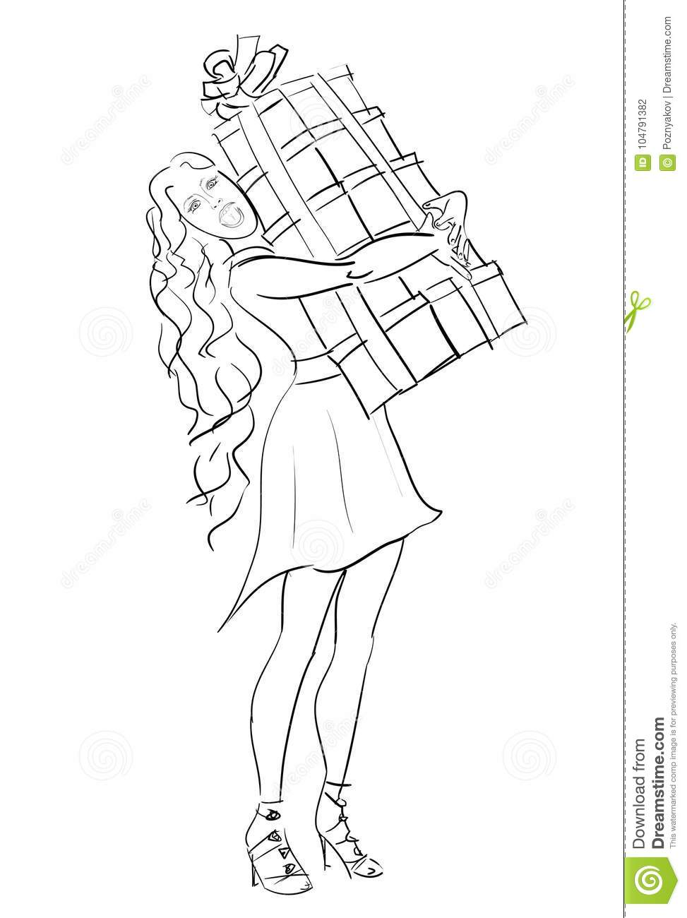 Vector Sketch Woman With Stack Of Gift Box In Holiday Boxing Day