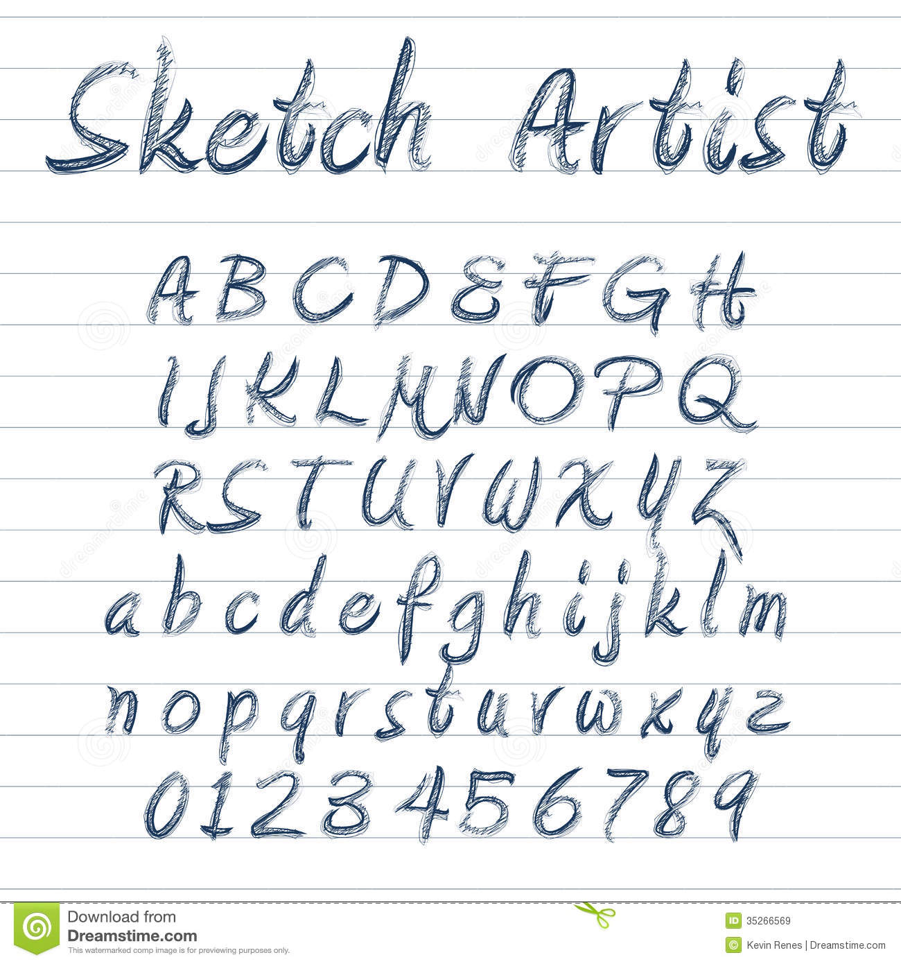 Vector sketched font download preview