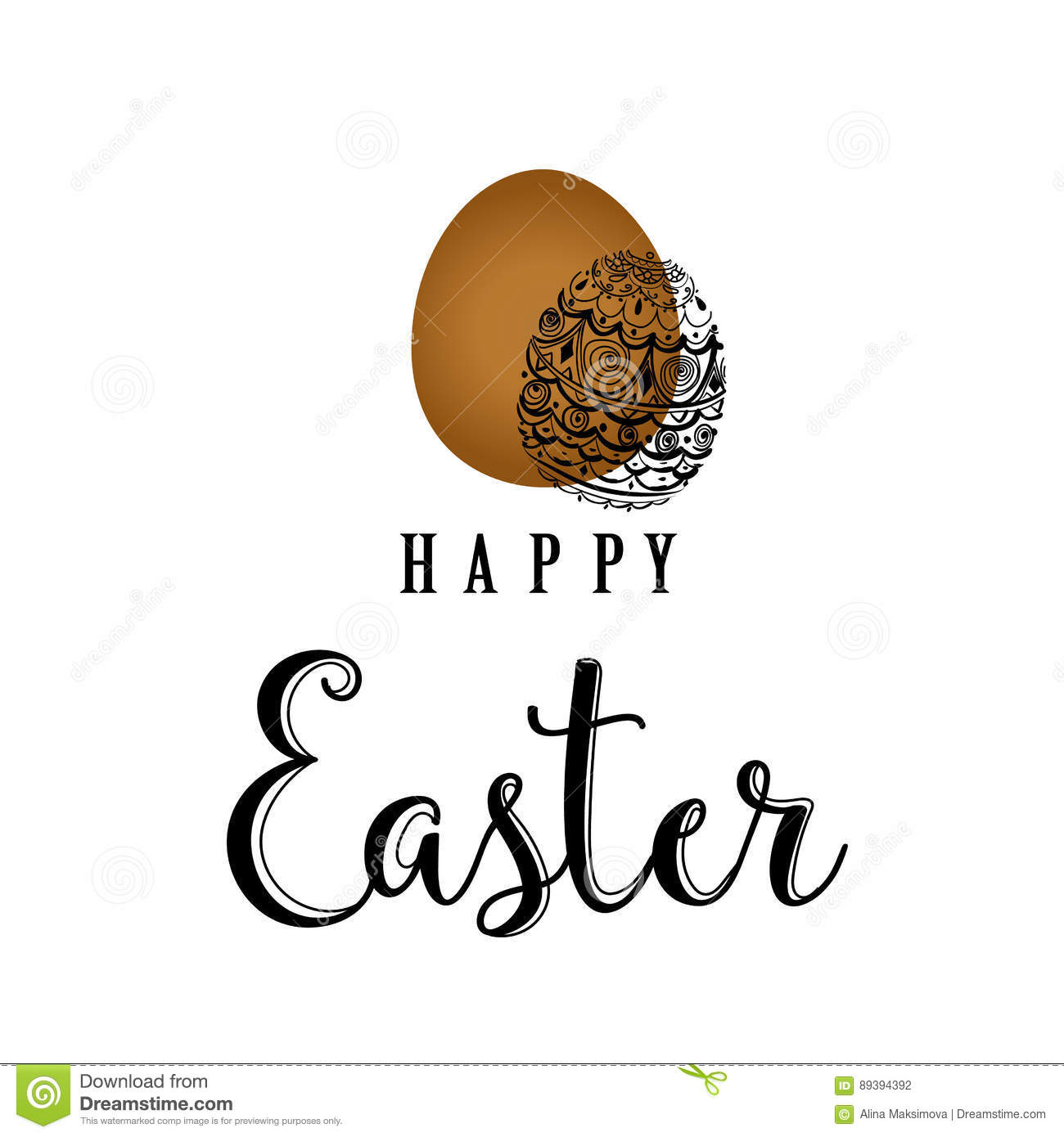 Vector sketched happy easter hand lettering