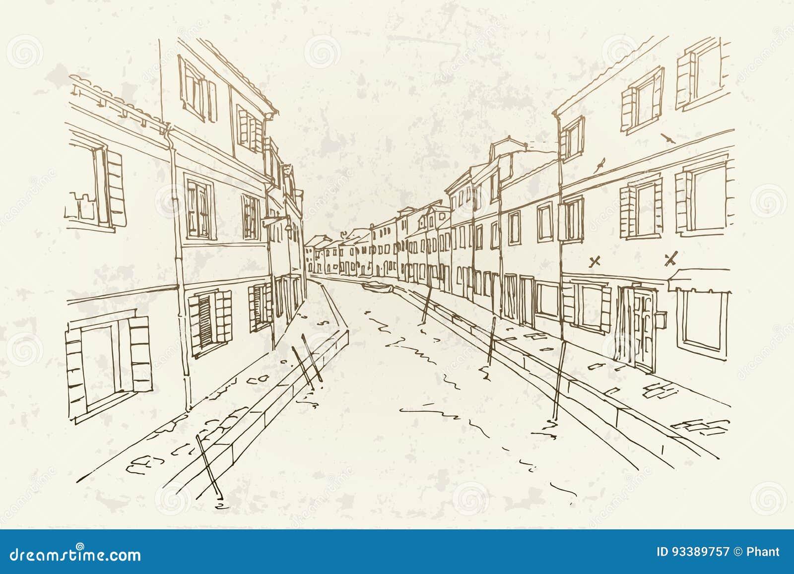 Vector Skizze der Architektur von Burano-Insel, Venedig, Italien