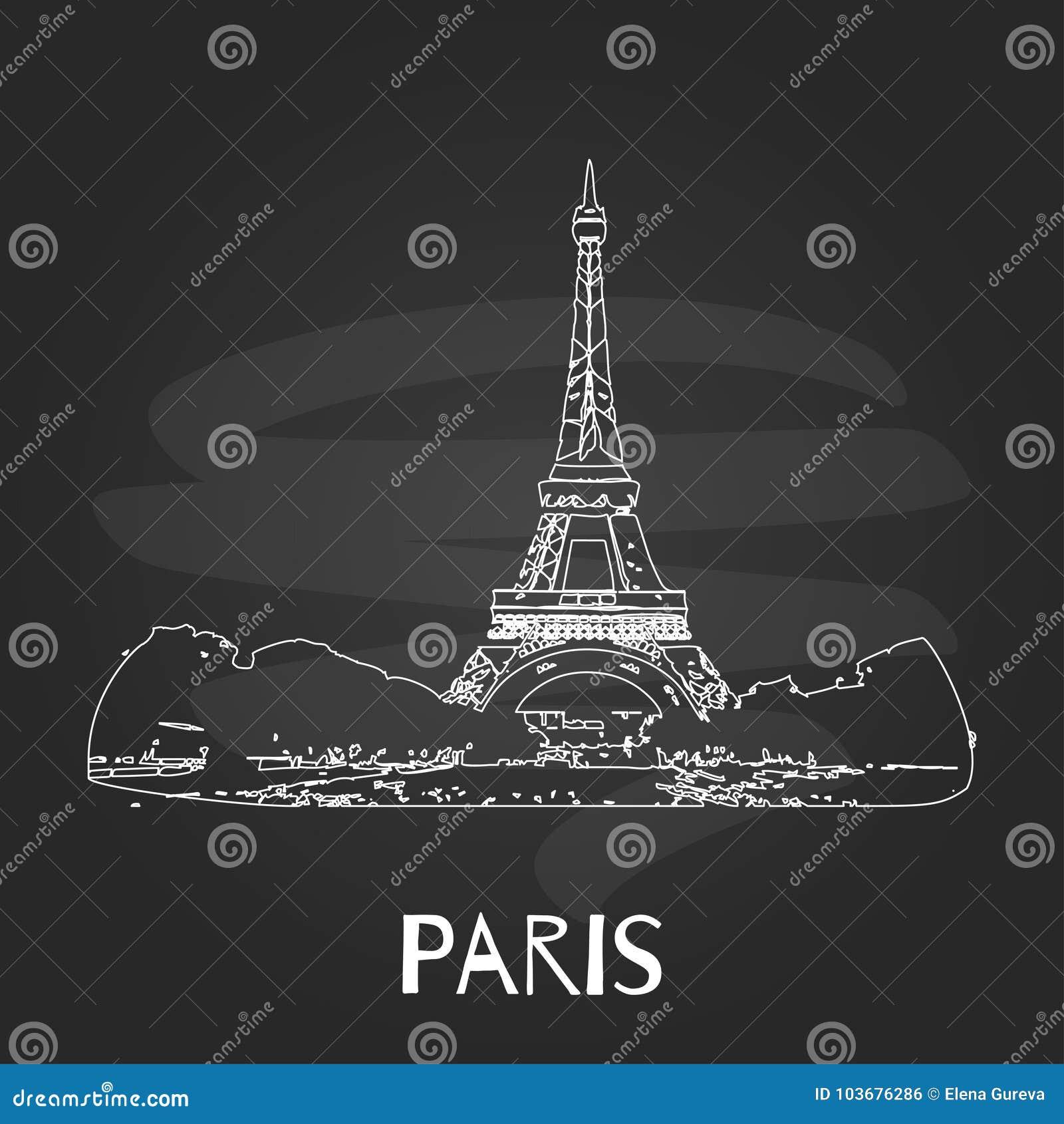 Vector Skizze des Eiffelturms auf Tafelhintergrund, Paris, Frankreich