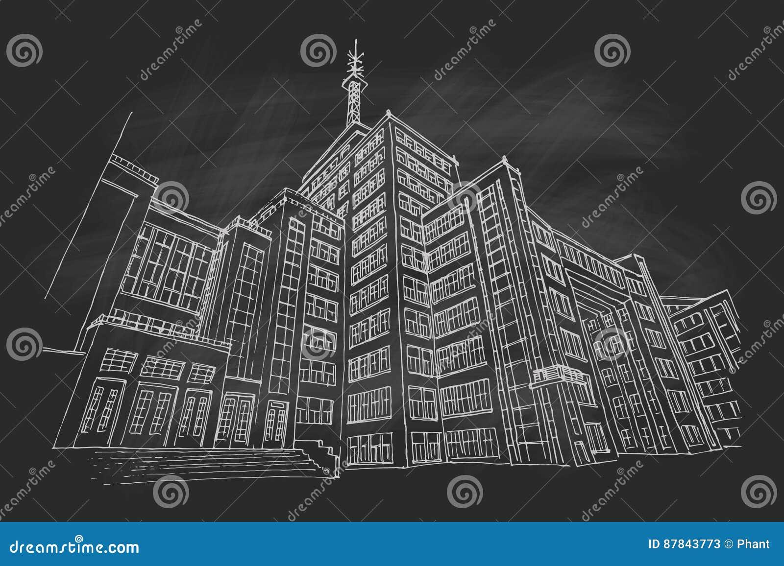 Vector Skizze des Zustands-Industrie-Gebäudes in Kharrkov, Ukraine