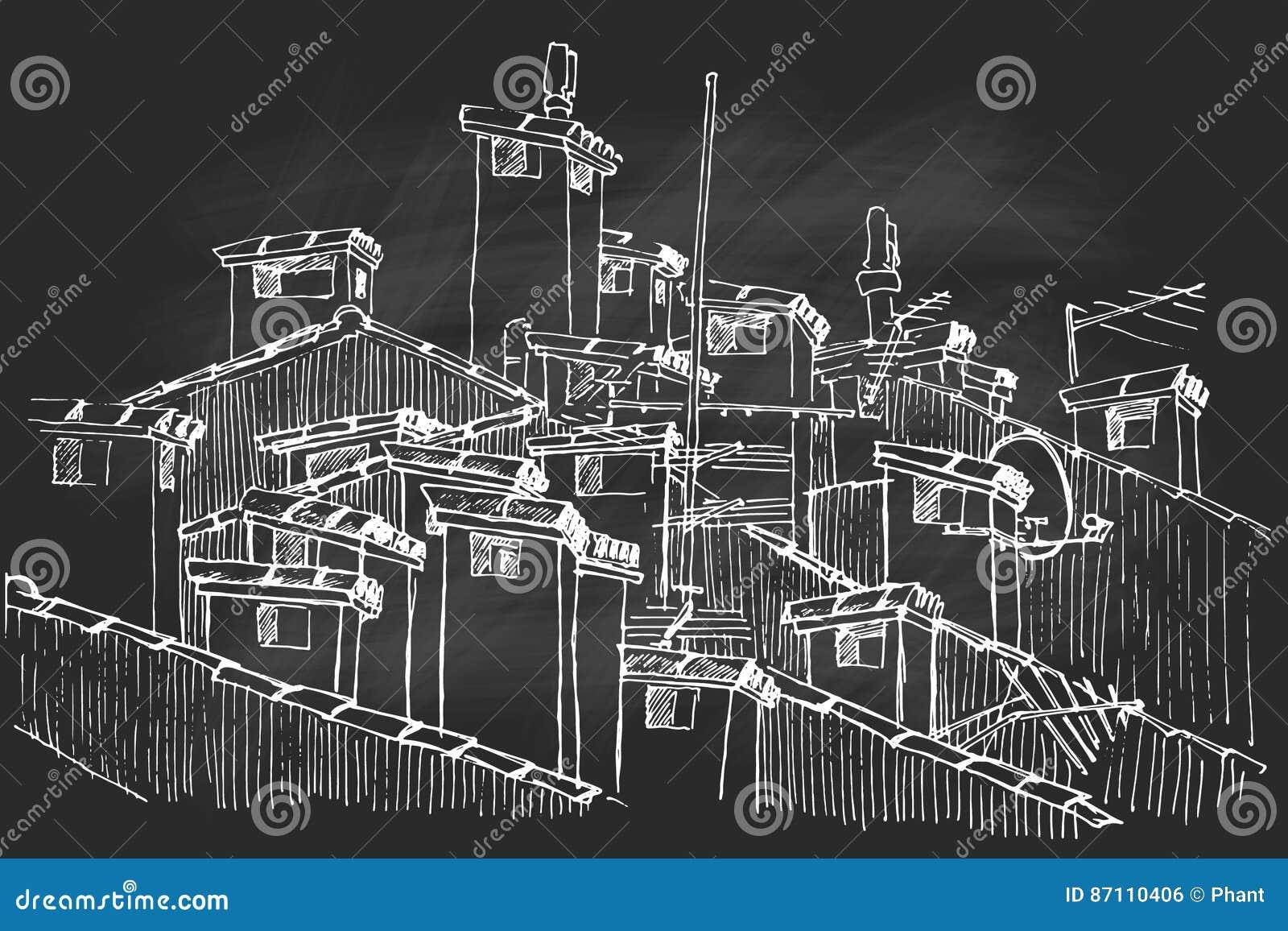 Vector Skizze einer Gruppe der Dachspitzenkamine