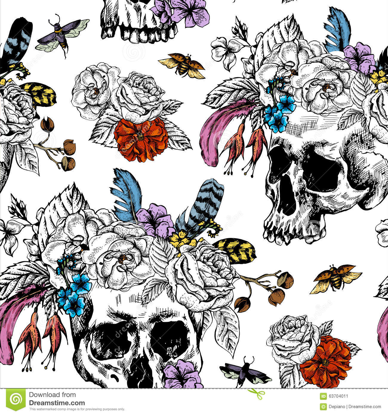 vector skull flowers day of the dead black and stock vector image 63704011. Black Bedroom Furniture Sets. Home Design Ideas