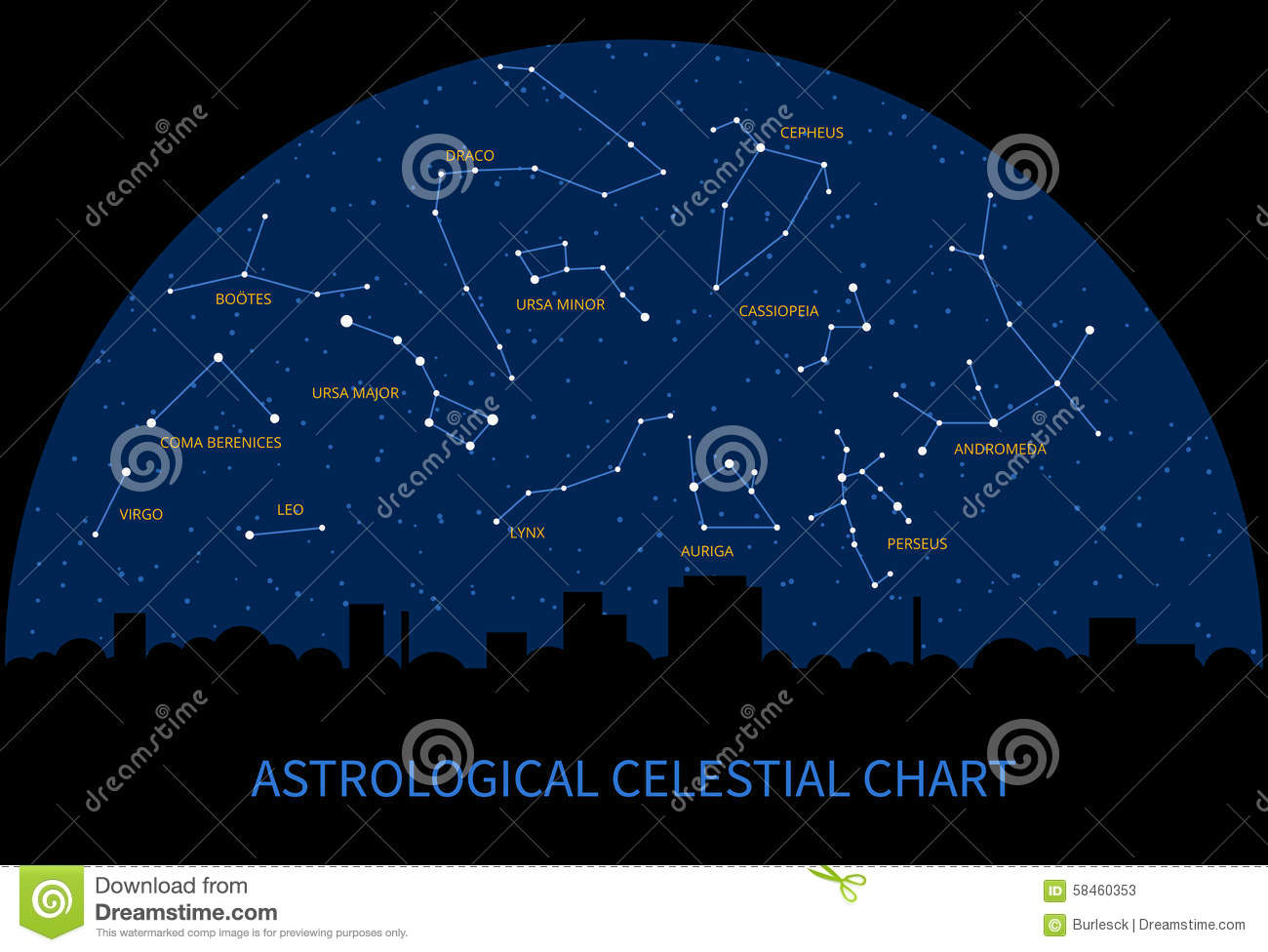 Vector Sky Map With Constellations Of Zodiac Illustration - Zodiac constellations map
