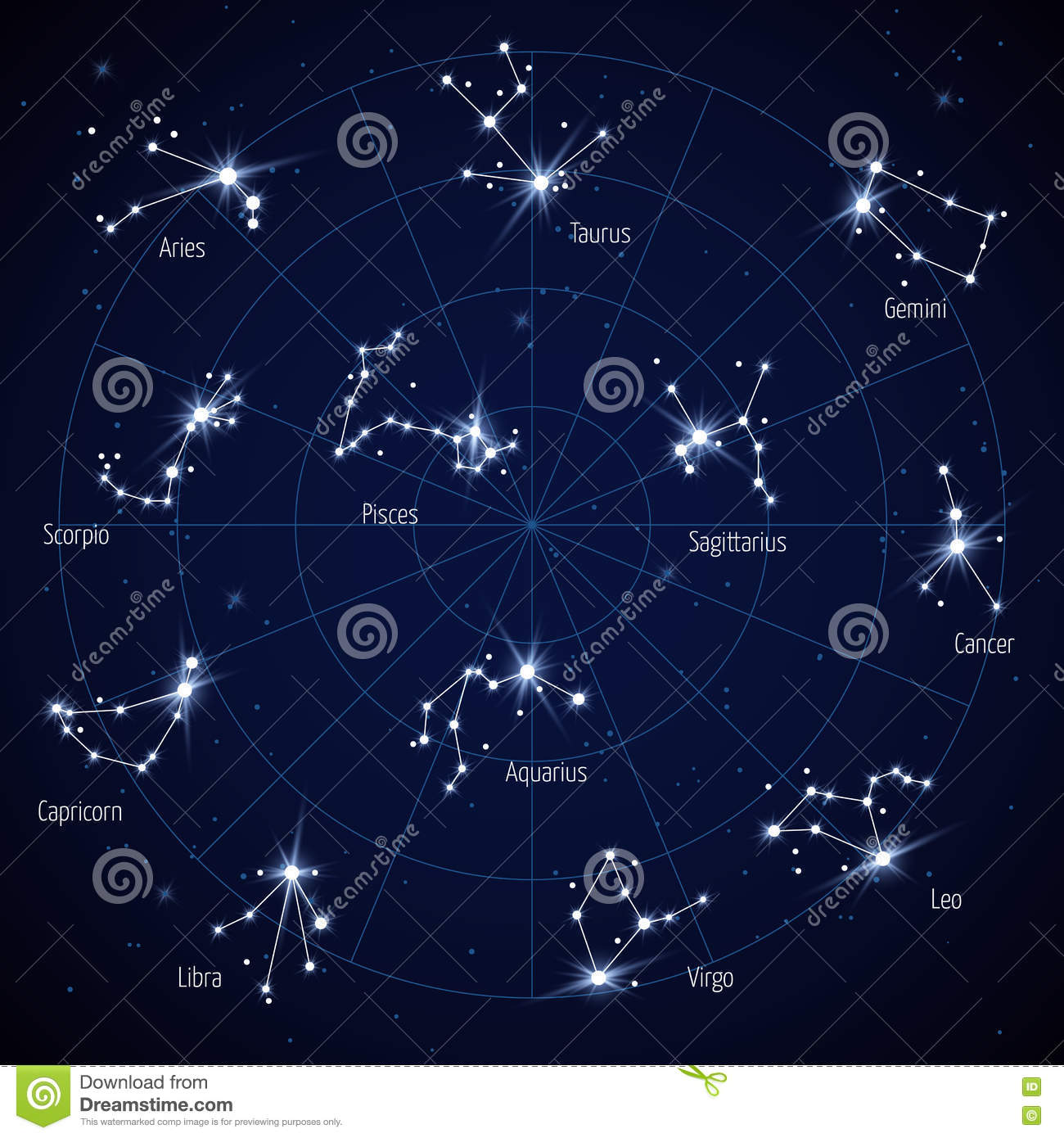 Vector Sky Star Map With Constellations Stars Stock Vector