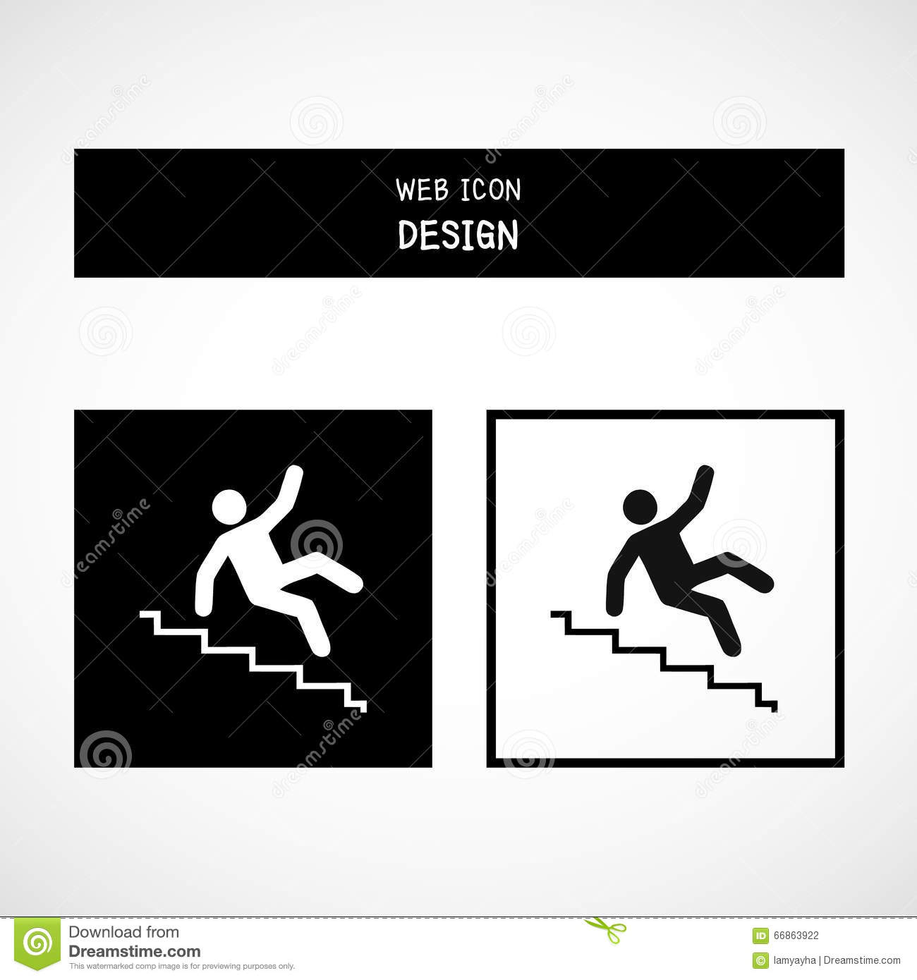 vector slippery stairs warning sign illustration isolated on white